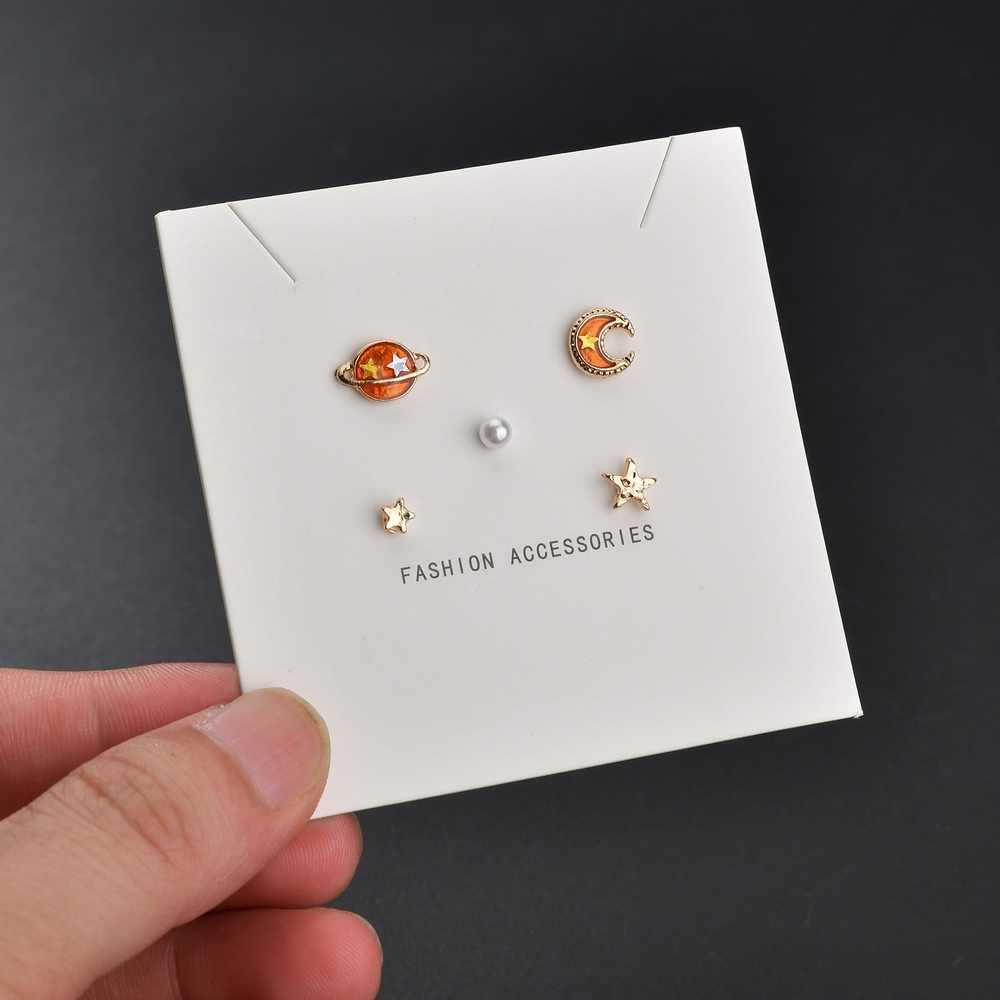 4 Pcs Earrings Mini Stud Universe Planet Moon Star Gift Jewelry Creative Women/'s