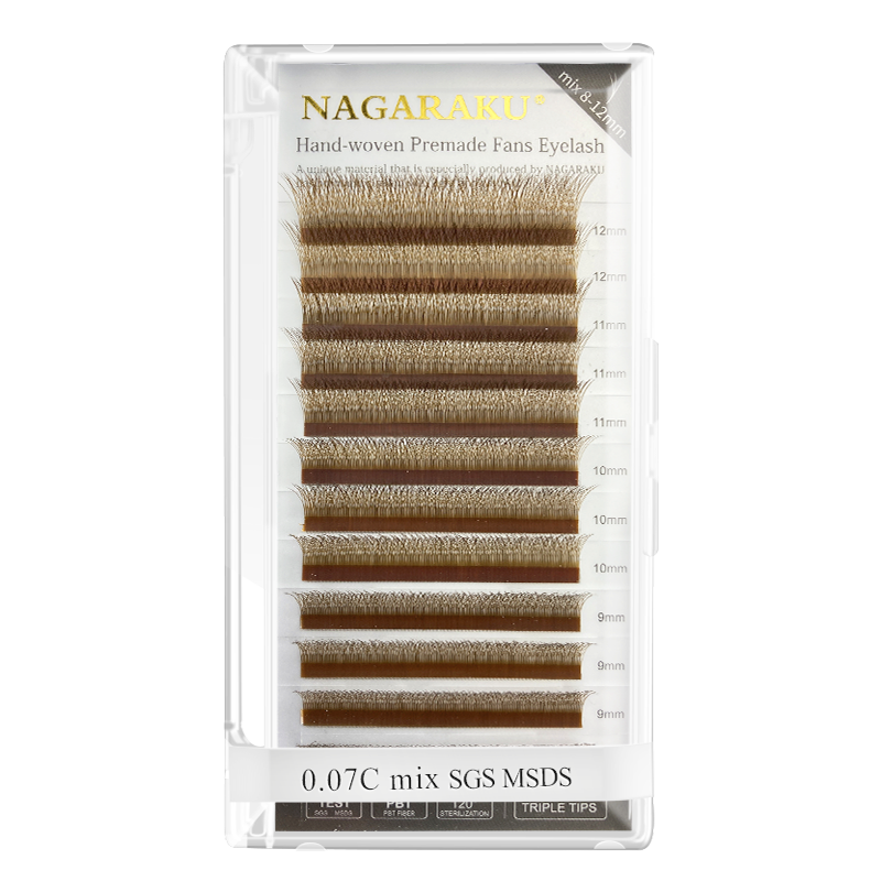 NAGARAKU 5 Cases Brown Automatic Flowering W Shape Bloom 3D Premade Fans Eyelash Extensions Natural Soft Light Individual Lashes