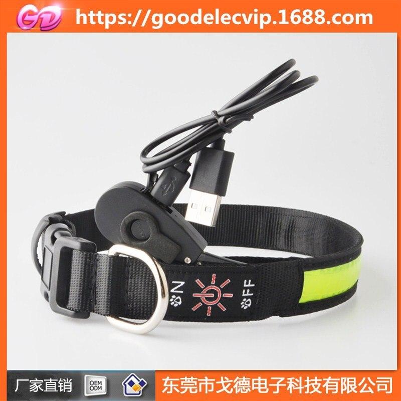 Dog Neck Ring USB Charging Luminous Collar Bandana Small And Medium-sized Dogs Teddy Golden Retriever Anti-loss Pet Night Light