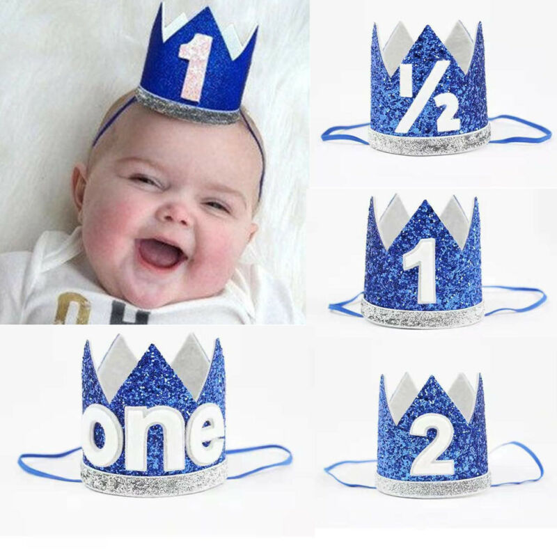 Baby Birthday Commemorative Hat Baby Girl Boy Kids Half 1/2 First Second Birthday Crown Party Headband Props