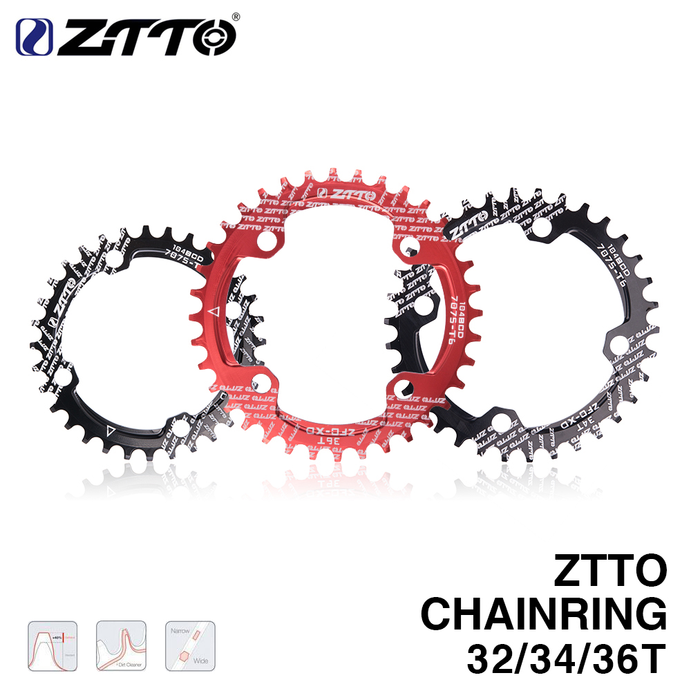 ZTTO single speed 1x system <font><b>Narrow</b></font> <font><b>Wide</b></font> chaining 104 BCD ROUND <font><b>32T</b></font> 34T 36T for MTB 11s 10s 9s 1*11 Crankset Chainwheel Ring image