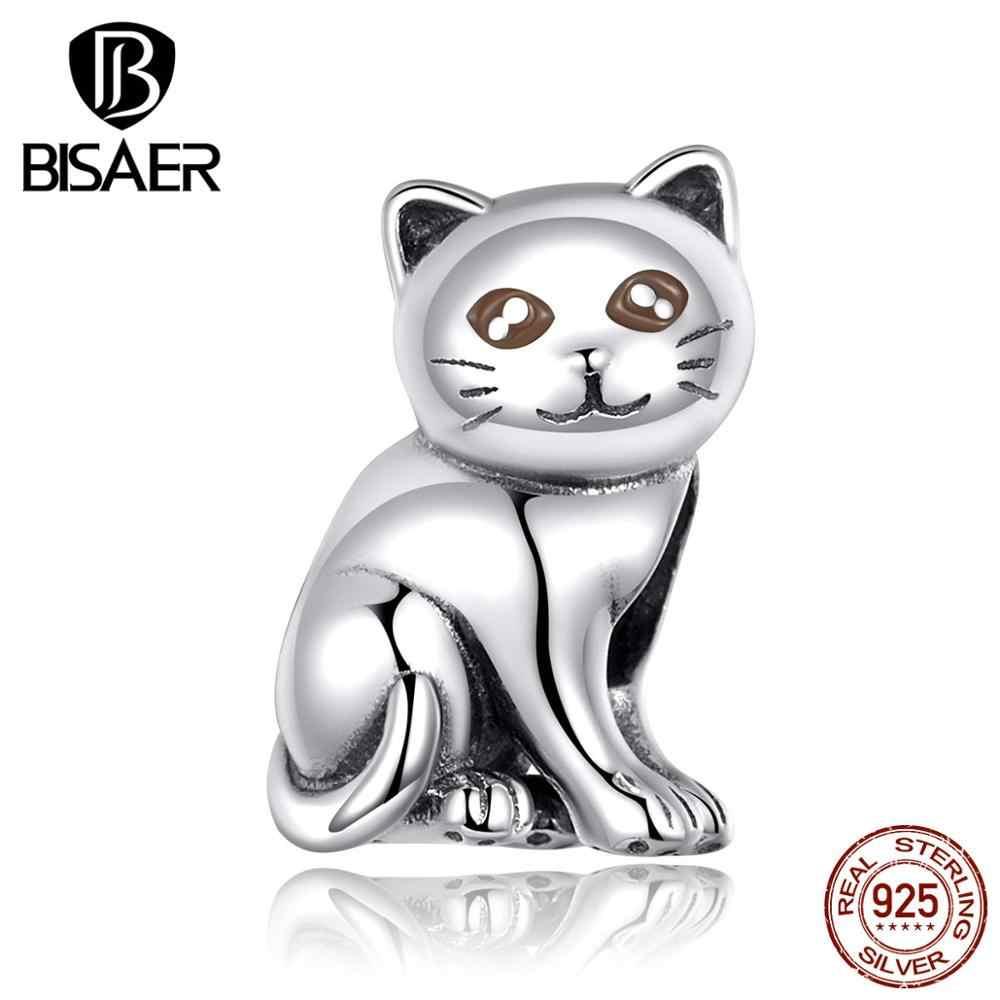 Pingente bisaer 925 de prata, pingentes de gatinho, pulseiras de prata esterlina 925, joia ecc1305