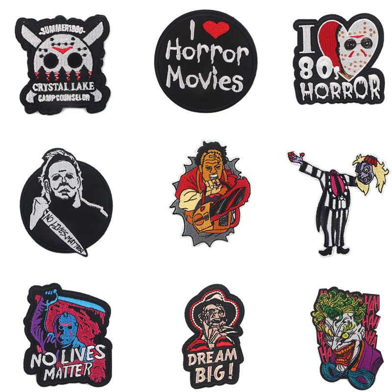 Autocollant de dessin animé E2134, Patch à broder à repasser pour personnages du film horreur, Badge accessoires pour vêtements