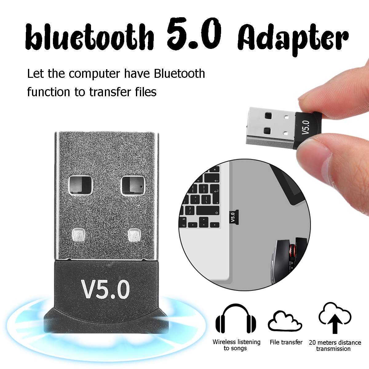 LEORY USB bluetooth Dongle Adapter 5.0 for PC Computer Speaker Wireless Mouse bluetooth Music Audio Receiver Transmitter image