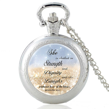 Classic Silver Bible Verse Glass Dome Quartz Glass Dome Pocket Watch Vintage Men Women Necklace Chain  Jewelry Gifts new fashion pray without ceasing bible verse christian necklace cabochon pendant inspirational jewelry women men faith gifts