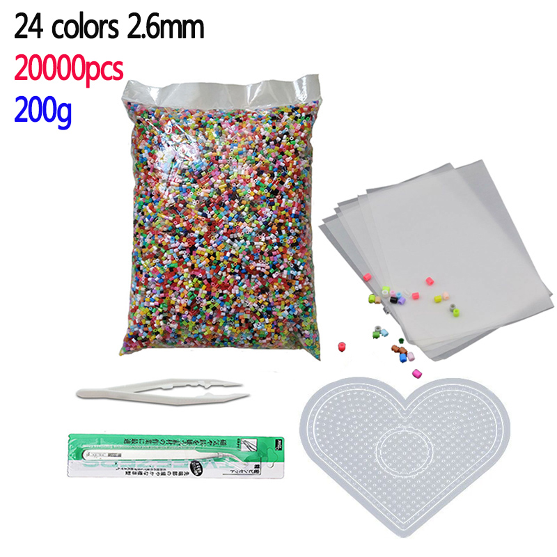 24 colors 20000pcs/bag Perler Beads Kit 2.6mm Hama beads Whole Set with Pegboard and Iron 3D Puzzle DIY Toy Craft Toy Gift(China)