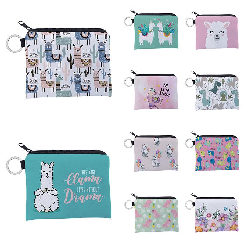 Alpaca Printing Waterproof Purse Card Key Pouch Small Zipper Coin Wallet Card Holder Mini Bag Square Cute Coin Bag High Quality