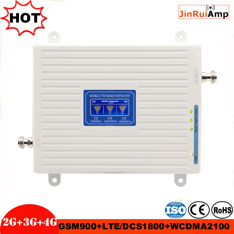 Tri Band Mobile Repeater GSM 900 UMTS 2100 4G 1800 Cellular Signal Booster LTE 70dB Gain 2G 3G 4G Amplifier With AGC
