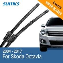 """SUMKS lames dessuie glace pour Skoda Octavia 24 et 19 """", bras boutons/broches latérales, 2004 à 2017"""