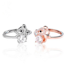 Hot Sale Inlaid  Rhinestone Mouse Open  Ring For Women Party  Index  Finger Ring Jewelry Accessory Gifts