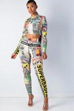 LOOZYKIT 2019 Fashion Women New Autumn Sport Pencil Casual Printed Sets Set Full  Sleeve Long Pants 2 Piece