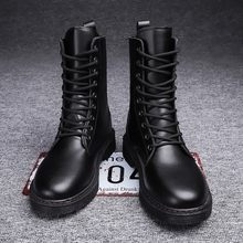 Martin Boots Unisex Men Combat Boots Soft Leather Mid-High Boots Couple Leather Boots Platform Men and Woman Non-Slip Boots