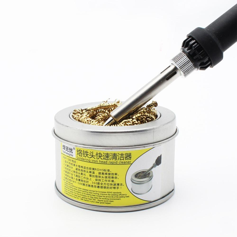1pc Welding Tool Mouth Cleaner Ball For Soldering Station Welding Solder Iron Tip Cleaner Soldering Cleaning Steel Wire GOLD