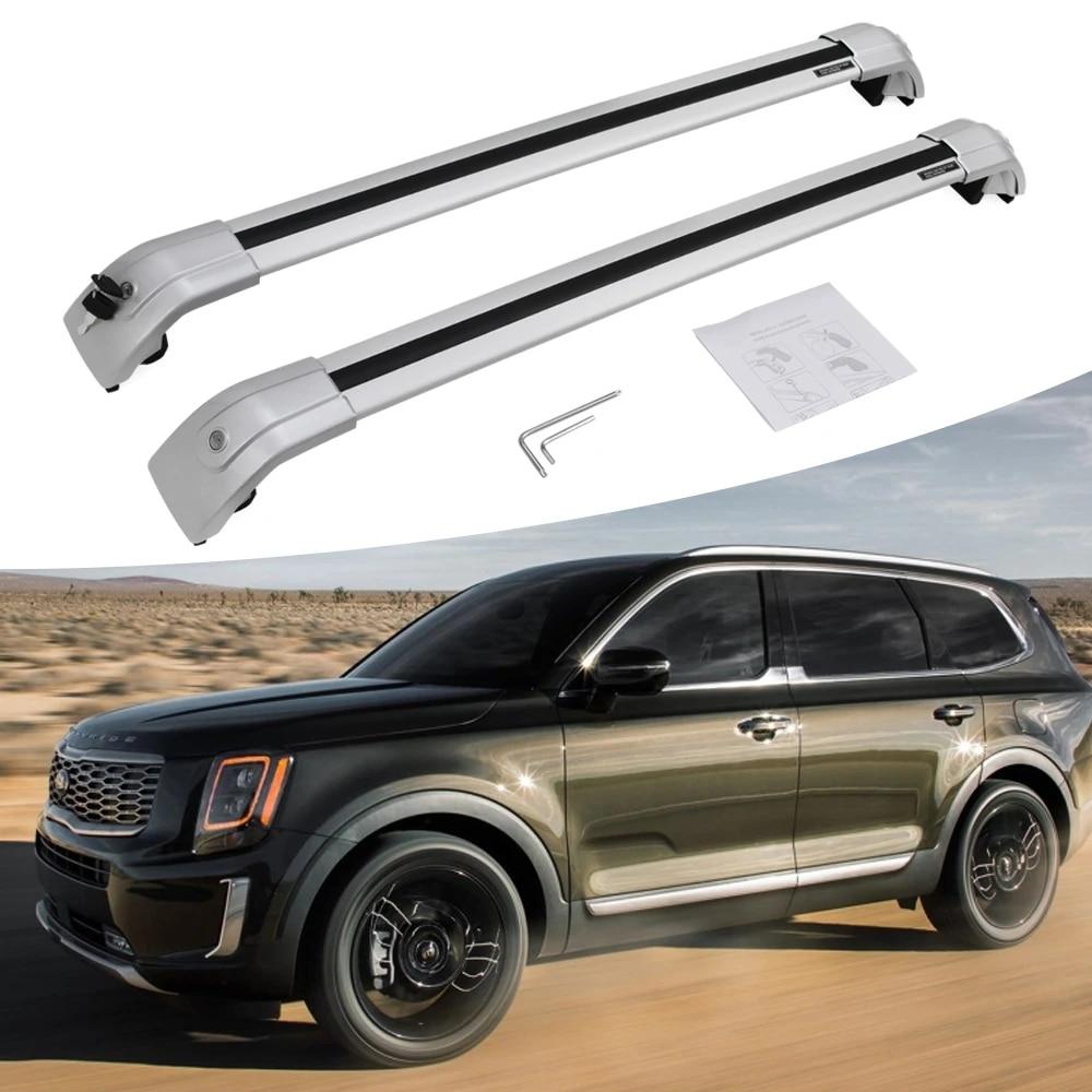 fit for kia telluride 2019 2020 lockable silver aluminum cross bars crossbar roof rack