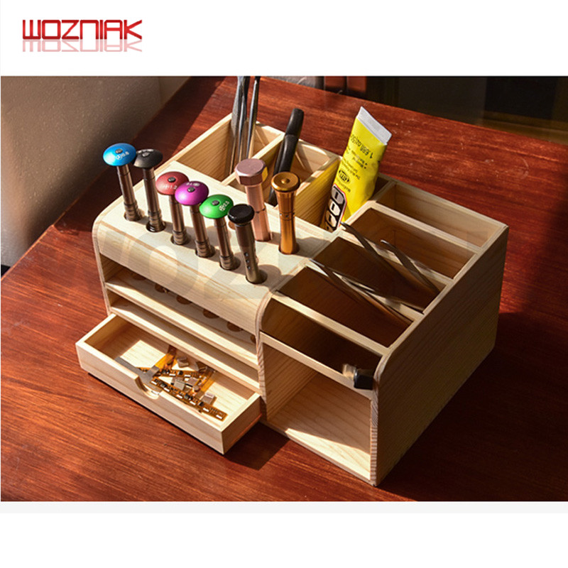 Wooden Storage Tools Box For Mobile Phone Repair Tool Spare Parts Sorting Boxes