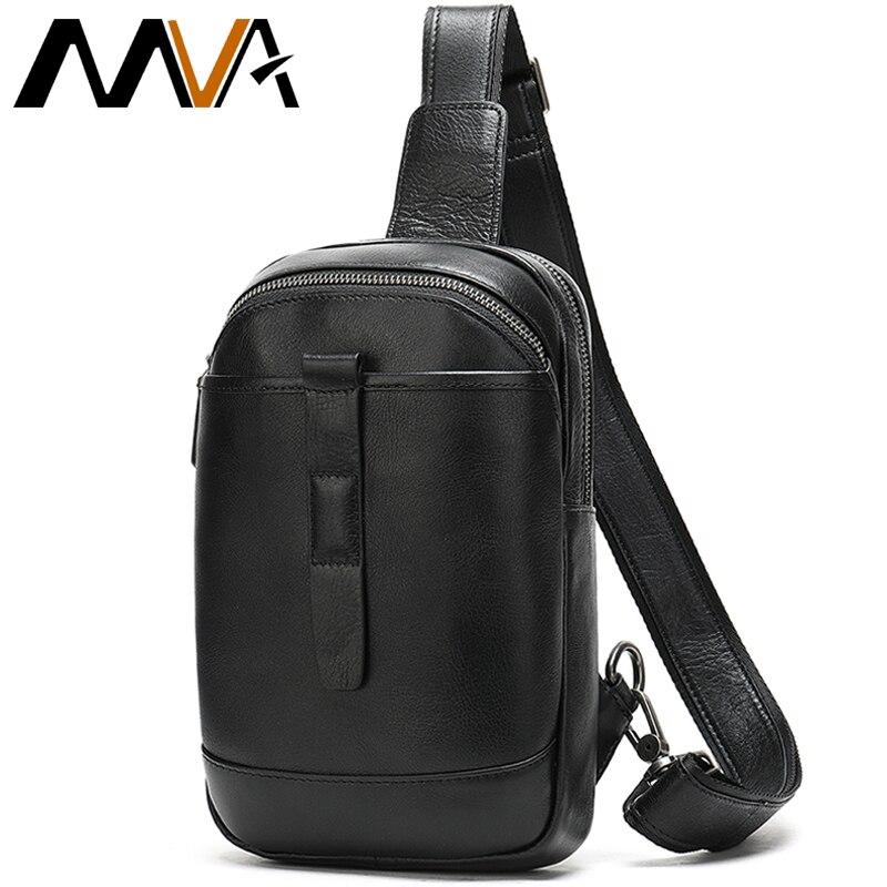 MVA Men's Shoulder Bags Men's Genuine Leather Men Crossobdy Bag For Men Messenger Bag Men Leather Men Sling Bags Male Chest Pack