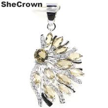 37x19mm Fancy Created Smoky Topaz White CZ Woman's Wedding Silver Pendant