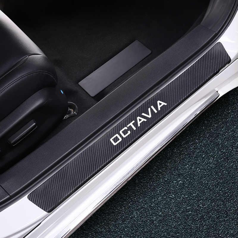 Serat karbon Untuk Skoda Octavia A7 A5 Kodiaq Cepat Fabia Kamiq Karoq 4 Pcs/set Mobil Pintu Sill Lecet Lecet Stiker Auto aksesoris