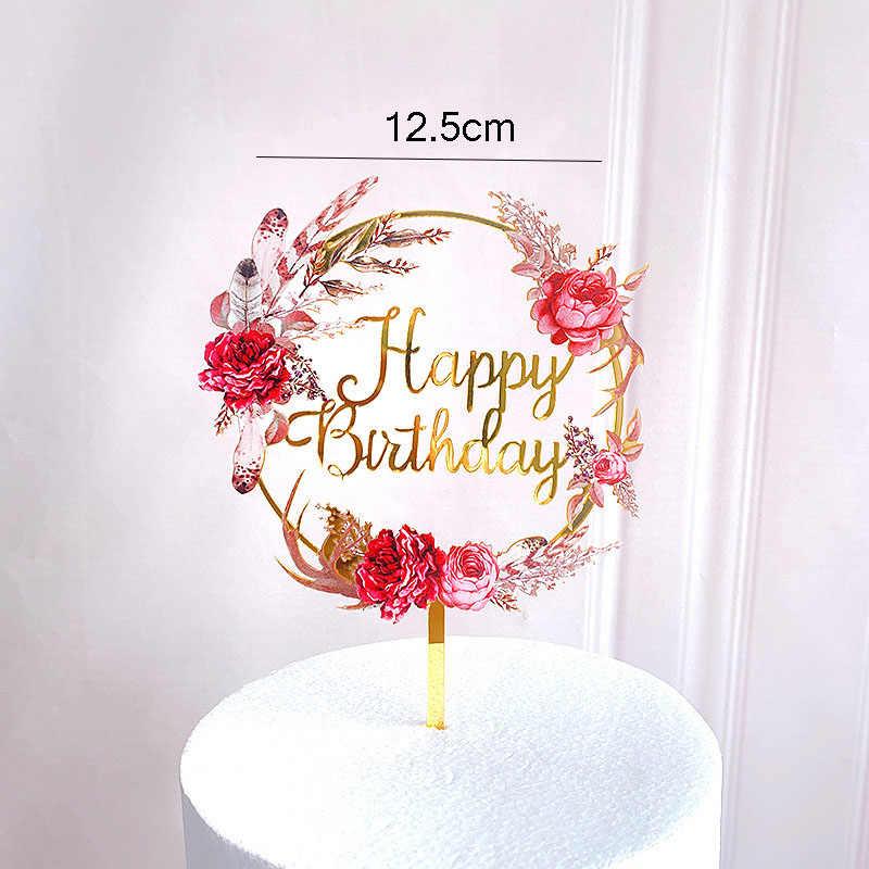 Bolo de sereia unicórnio de ouro acrílico, brinquedo, flamingo, feliz aniversário, cupcake, para decoração de bolo, chá de bebê