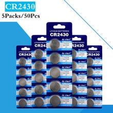 25 pces/5 bloco cr2430 botão baterias dl2430 br2430 kl2430 pilha moeda bateria de lítio 3v cr 2430 para relógio eletrônico brinquedo remoto