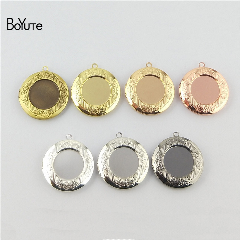 BoYuTe (10 Pieces/Lot) <font><b>32MM</b></font> Pendant 20MM Cabochon <font><b>Base</b></font> Blank Tray Vintage <font><b>Round</b></font> Floating Photo Locket image