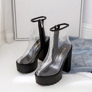 Image 5 - COWCOM bottes transparentes pour femmes, chaussures transparentes, talon épais, talons hauts et ronds étanches, semelle blanche, DF jz750 1