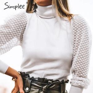Image 3 - Simplee élégant dentelle manches patchwork femmes blouse col roulé automne hiver femme tricoté hauts Streetwear dames blouses chemises