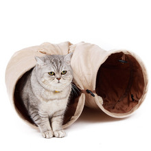 High Quality Pet Tunnel Long 120cm 2 Holes Cat Puppy Rabbit Teaser Funny Hide Toys With Ball Collapsible