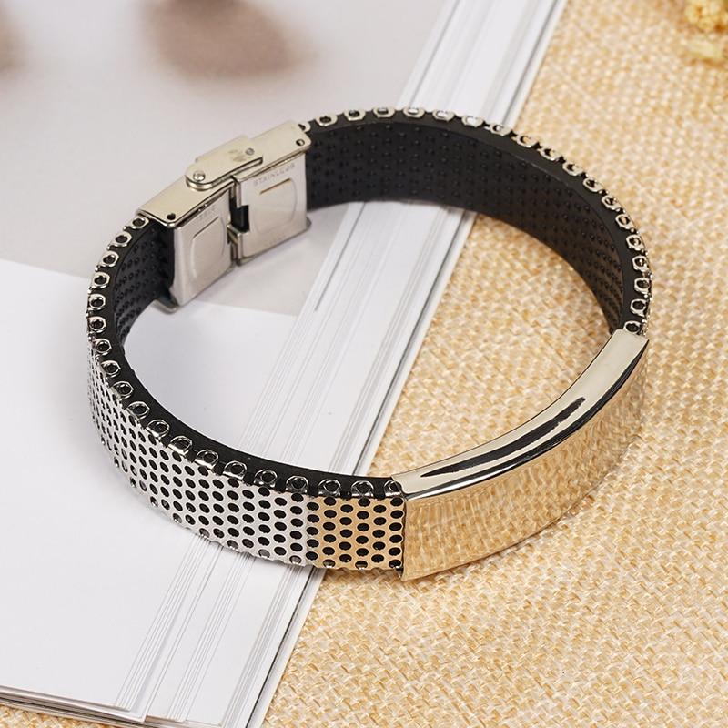 2019 Glamour Retro Black Cuff Bracelet PU Leather Bracelet Women Simple Men's Glossy Bracelet T9O5