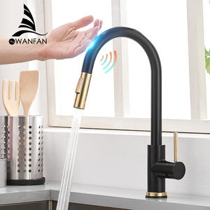 Faucet Mixer Tap Gold Single-Handle Smart-Touch Brushed Sensor Water-Modes Dual Outlet