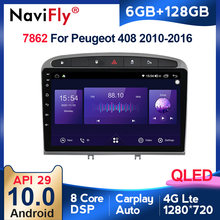 6G + 128G Android 10 QLED 4G LTE para PEUGEOT 308, 308S 408, 2010 - 2016 auto Radio Multimedia reproductor de Video GPS de navegación 2 din dvd