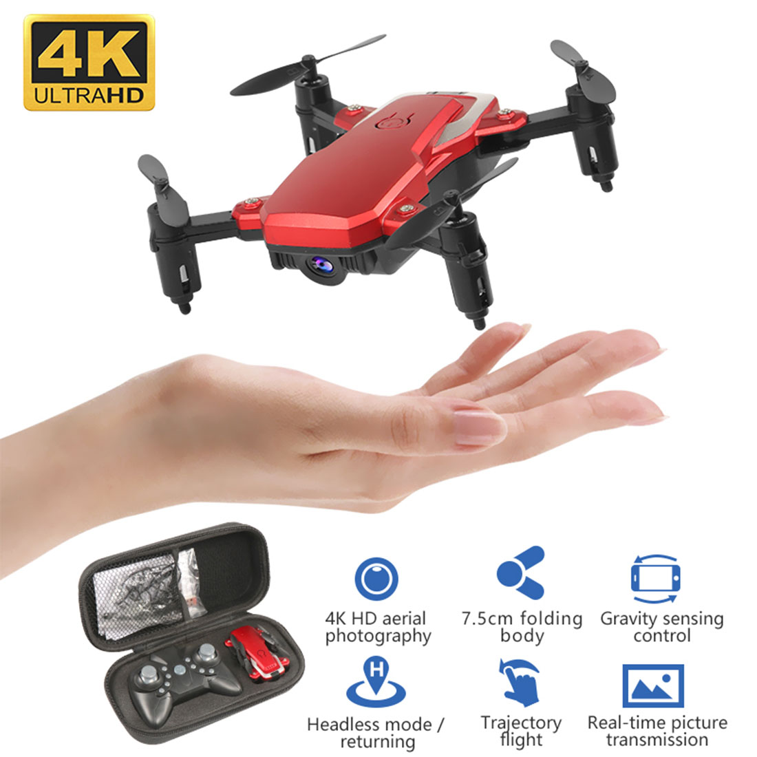 Foldable Mini Drone K1 WiFi FPV HD <font><b>Camera</b></font> 0.3MP 2.0MP 5.0MP 4K Altitude Hold Aerial <font><b>Video</b></font> 3D Flips RC Quadcopter Kids Toy image
