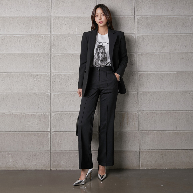 Professional Women's Suit 2019 Autumn New Slim Single-breasted Black Ladies Jacket Casual High Waist Trousers Office Two-piece