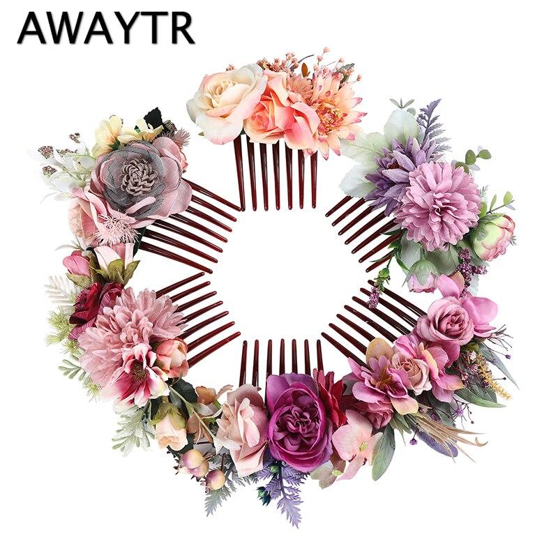 AWAYTR nueva diadema de flores para Mujer Accesorios para el pelo de la boda de la novia peine de plástico de siete dientes corona Floral tocado de novia