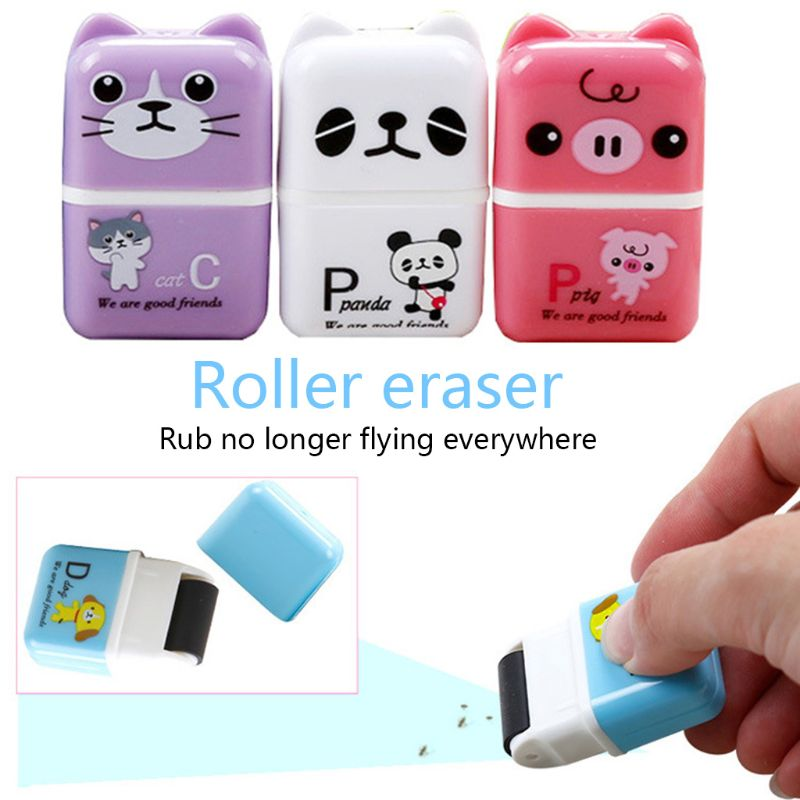 Cute Cartoon Roller Eraser Roller Colorful Rectangle Eraser Pencil Rubber Erasers For School Kids
