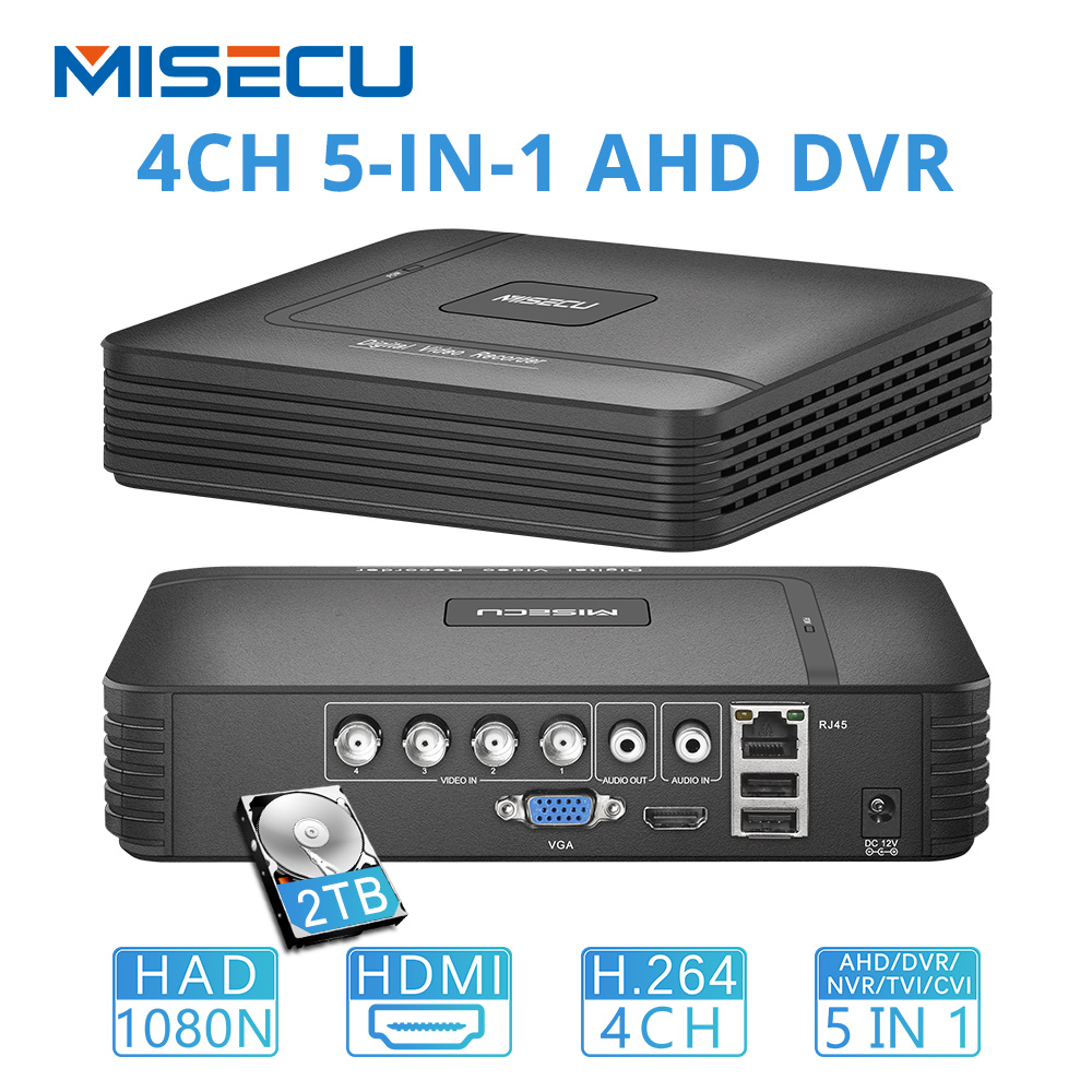 MISECU 1080N 4CH CCTV DVR Mini 5IN1 For CVBS AHD Analog Camera IP Camera Onvif P2P 1080P Video Surveillance DVR Recorder H.264
