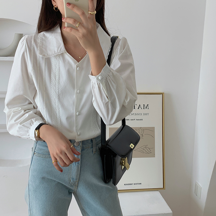 H990b750d5835410697724712118e19c6g - Spring / Autumn Korean Turn-Down Collar Long Sleeves Buttons Lace Blouse