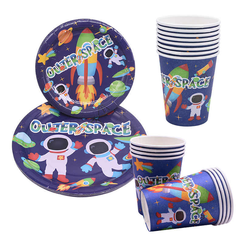 1set Outer Space Planet Party Disposable Tableware Birthday Party Decor Kids Disposable Paper Plate Cup Astronaut Party Supplies
