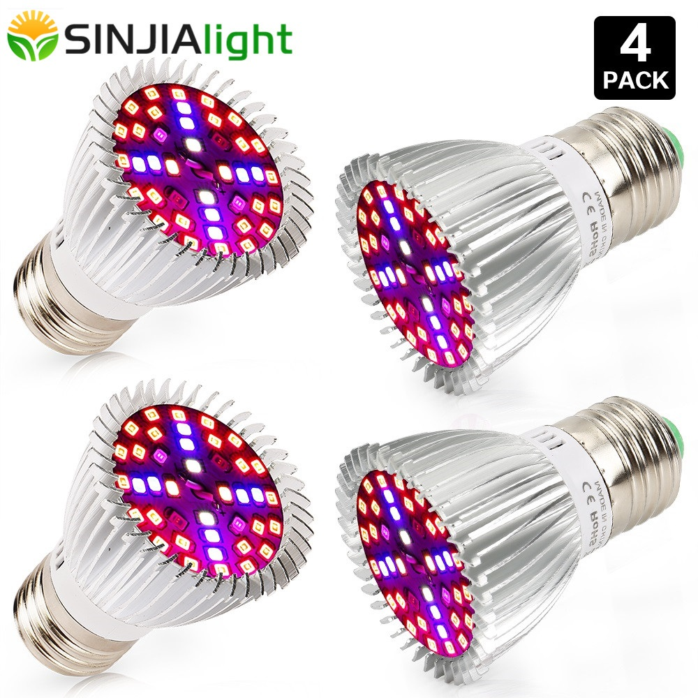 چراغهای رشدی 4PCS LED 40LEDs لامپ گیاهان با طیف کامل فیتولامپای گل لامپ برای هیدروپونیک رشد جعبه نور گیاه داخلی E27