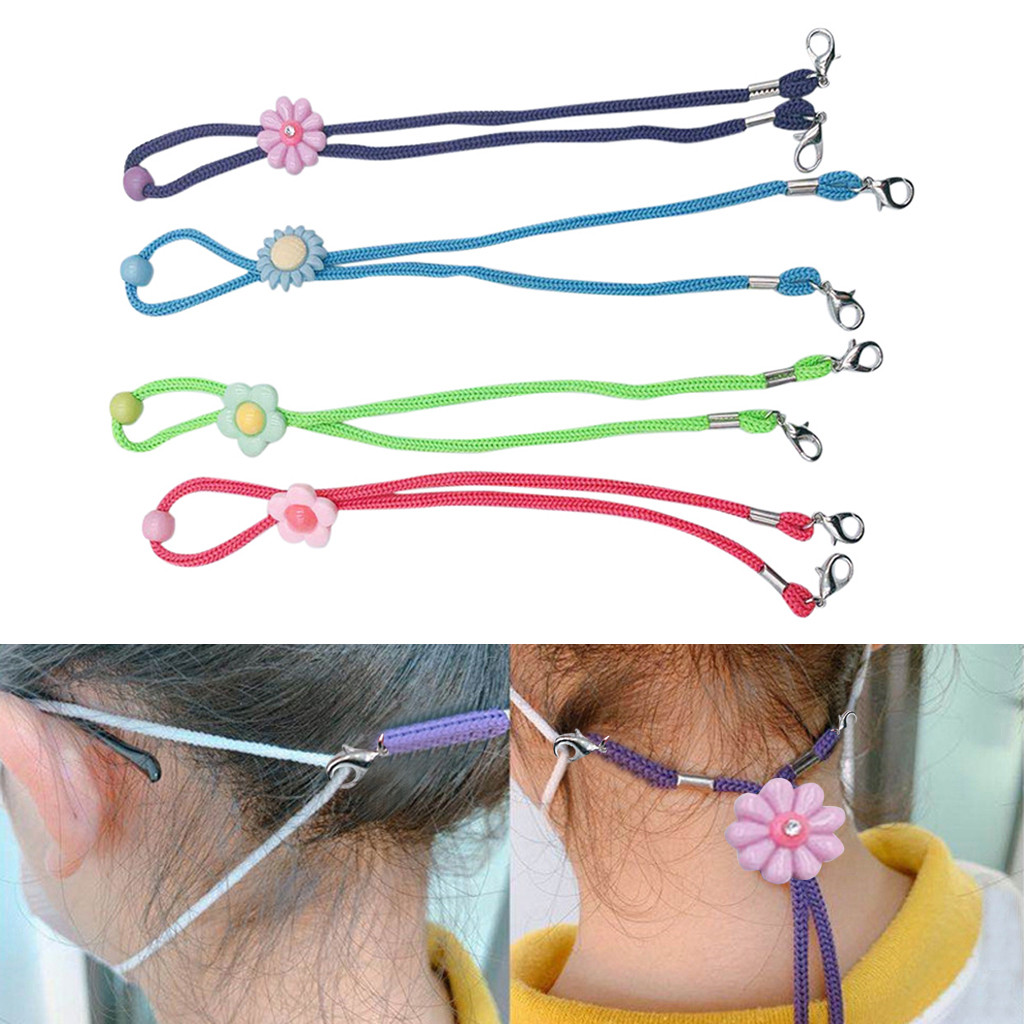 4pc Adjustable Face Mask Lanyard Handy&Convenient Safety Mask Rest&Ear Holder Rope Portable Face Mask Hang on Neck String(China)