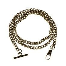 Винтажная Глянцевая хромированная металлическая жилетка карманные часы цепь Модные прочные аксессуары для одежды цепи с Т-образными застежками