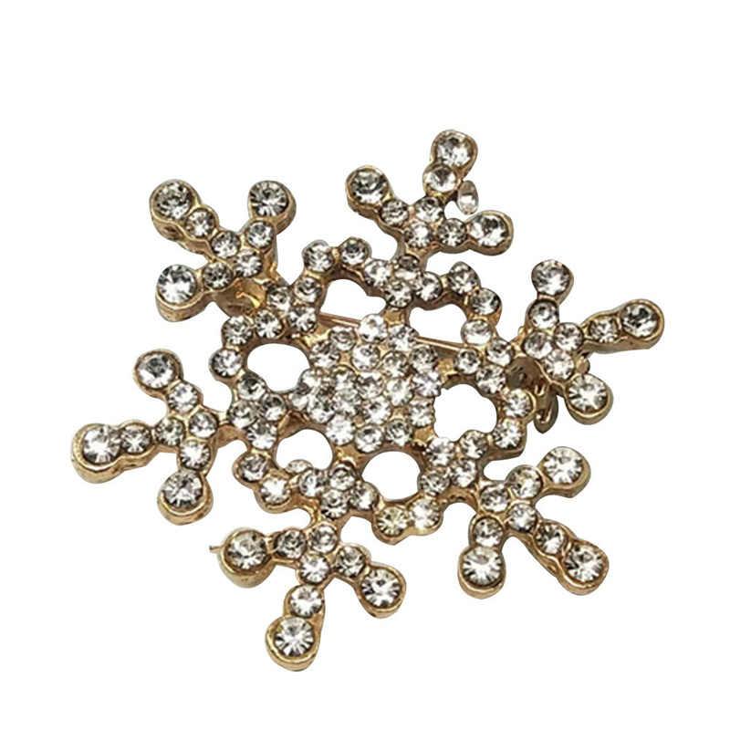 New Lady Moda Broche de Cristal Cintilante Strass Grande Broche Floco De Neve Broches Alfinetes de Jóias Presente de Natal Mulheres