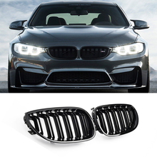 Car Kidney Grill Racing Double Line Grille For BMW 5 Series E60 E61 2003-2010 Car Tuning Front Grills Accessories Gloss Black 1pair gloss car front sport grill kidney black grilles front hood kidney grille for bmw 5 series m5 e39 e60 e61 2003 2009
