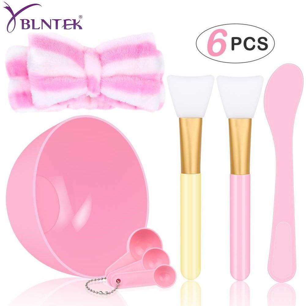 YBLNTEK Face Mask Bowl Set 5 In 1 DIY Facial Mask Mixing Bowl Brush Spoon Stick Headbands Tool Beauty Make Up Set