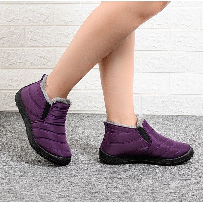Snow Boots Women Shoes Warm Plush Fur Ankle Boots Winter Female Slip On Flat Casual Shoes Waterproof Ultralight Footwear 18