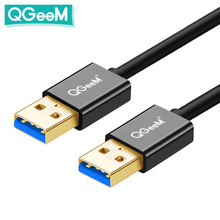 QGeeM USB 3.0 케이블 슈퍼 스피드 USB 3.0 남성 남성 USB 연장 케이블 라디에이터 하드 디스크 USB 3.0 데이터 케이블 익스텐더