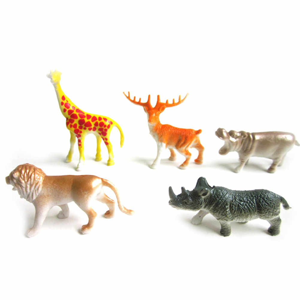 Mini Mondo Animale Zoo Modello Giocattolo Action Figure Set di Simulazione Del Fumetto Animale Bello Delle Materie Plastiche Collezione di Giocattoli per I Bambini