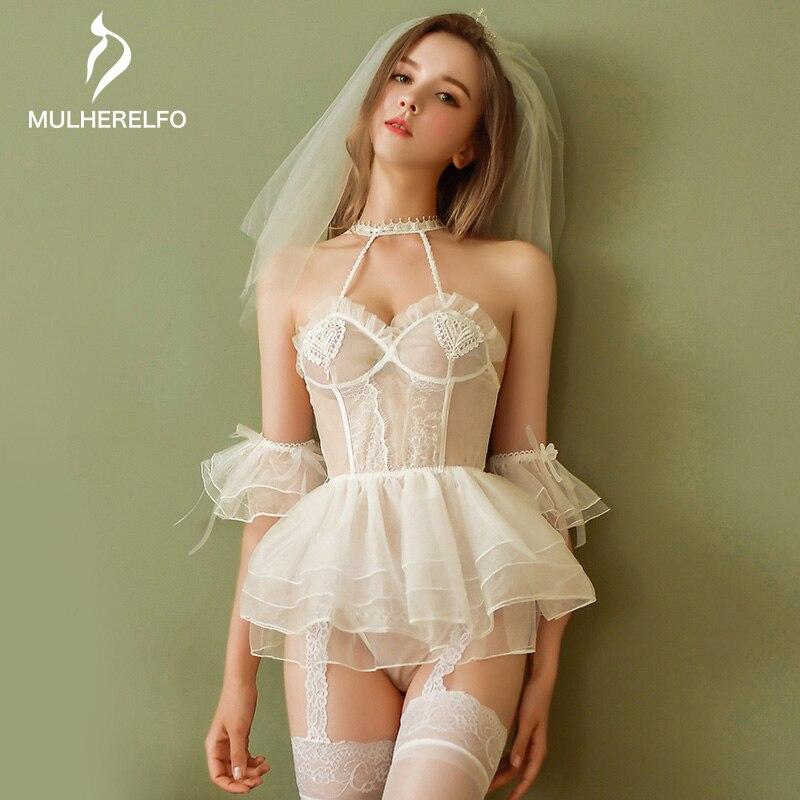Sexy Nightgown Open Back Mini White Bride Lingerie Camis Sleeveless Lace Ruffles Bow Women Nightdress Sexy Women Home Sleepwear
