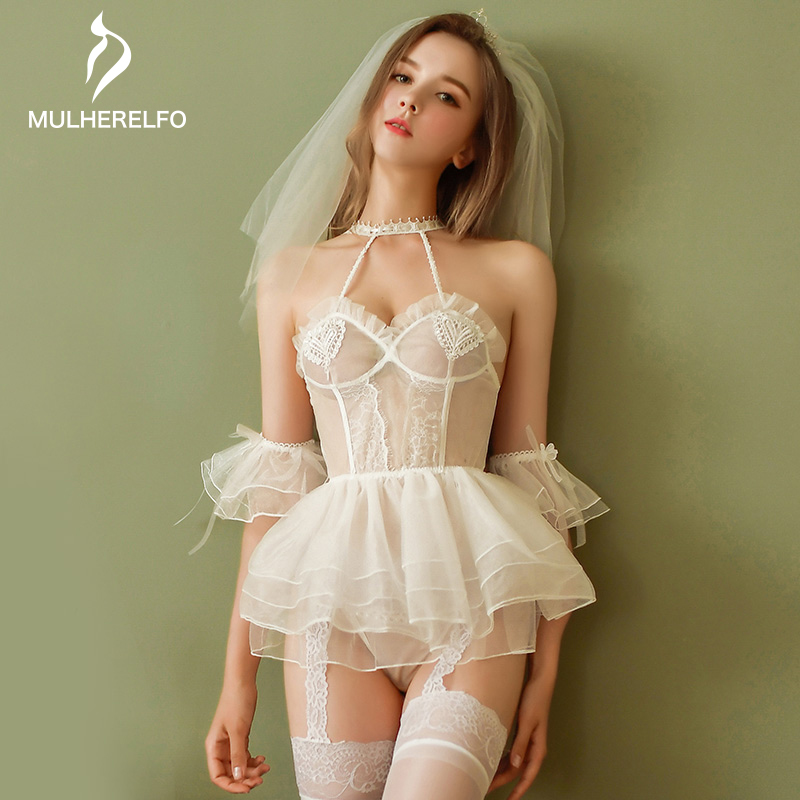 Sexy Sashes Backless Mini White Bride Lingerie Camis Sleeveless Lace Ruffles Bow Women Night Dress New Sexy Home Women Sleepwear