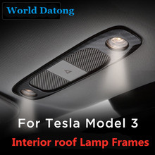 Carbon fiber Drawing Rear seat Reading Light Cover ABS decoration strips For Tesla Model 3 2018 2019  Interior roof Lamp Frames carbon fiber drawing rear seat reading light cover abs decoration strips for tesla model 3 2018 2019 interior roof lamp frames